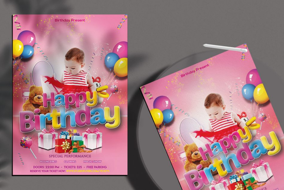 Kid's Birthday Free PSD Flyer Template