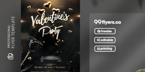 Luxury Valentine's ~ Black and Gold PSD Free Flyer