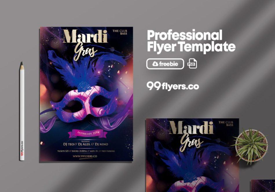 Mardi Gras Celebration PSD Flyer Template