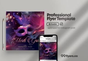 Mardi Gras PSD Free Flyer Template for Instagram