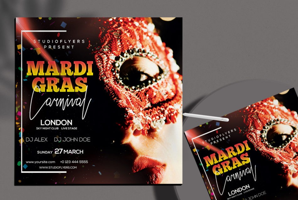 Mardi Gras Party PSD Free Flyer Template