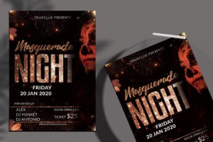 Masquerade Party Night Free PSD Flyer Template