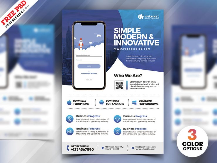 Mobile App Ad - Free PSD Flyer Template