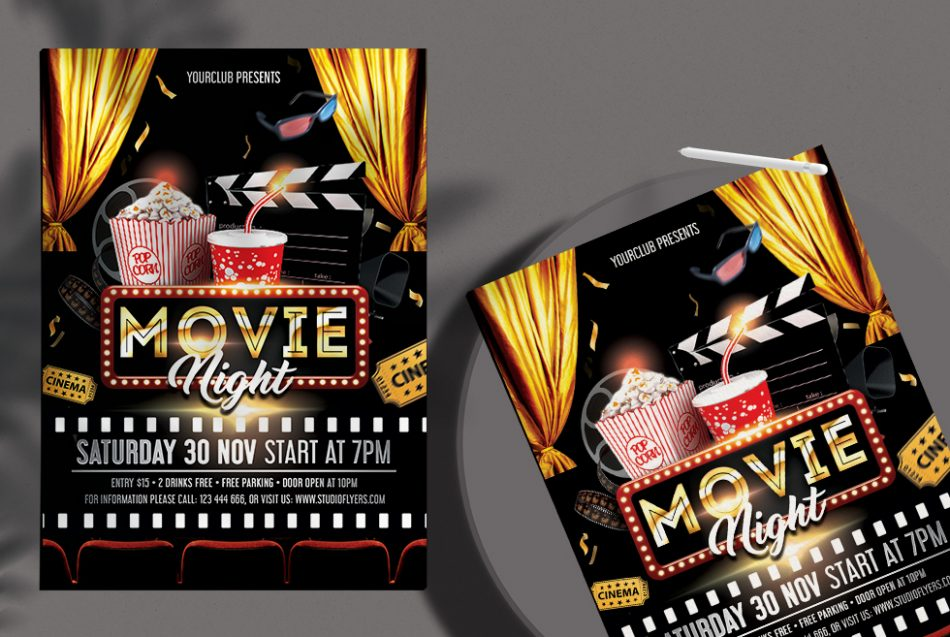Movie Night Event Free PSD Flyer Template