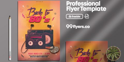 Retro Party Free Vintage PSD Flyer Template