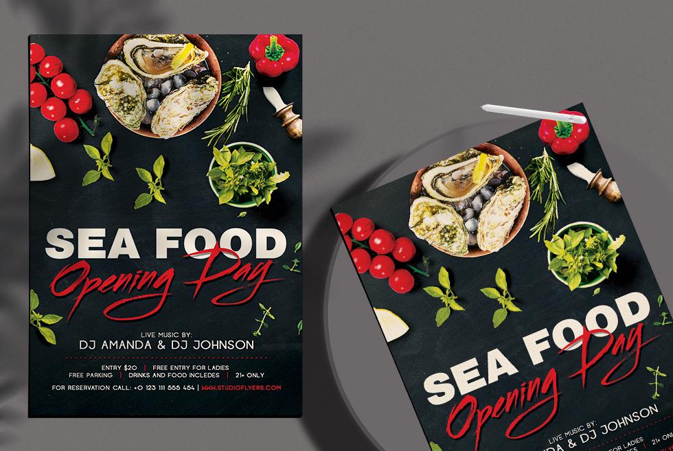 Sea Food Free PSD Flyer Template