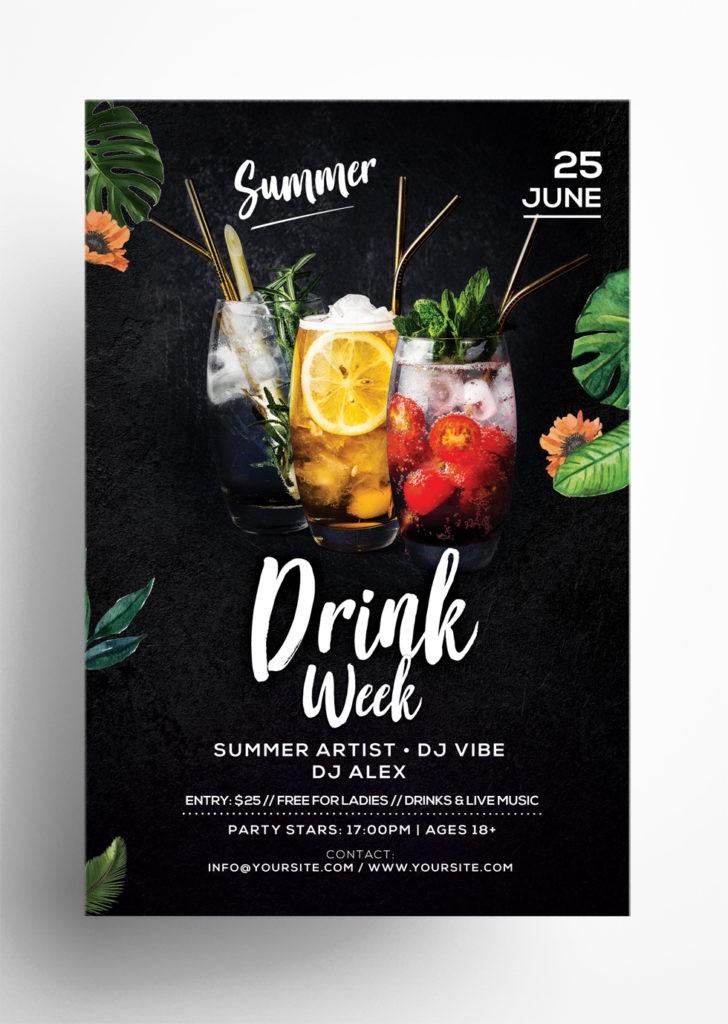 Summer Cocktail Week Free PSD Flyer Template
