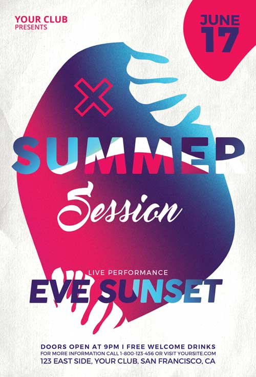Summer Sessions – Free Electro PSD Flyer Template