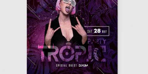 Tropic Party Free Event PSD Flyer Template