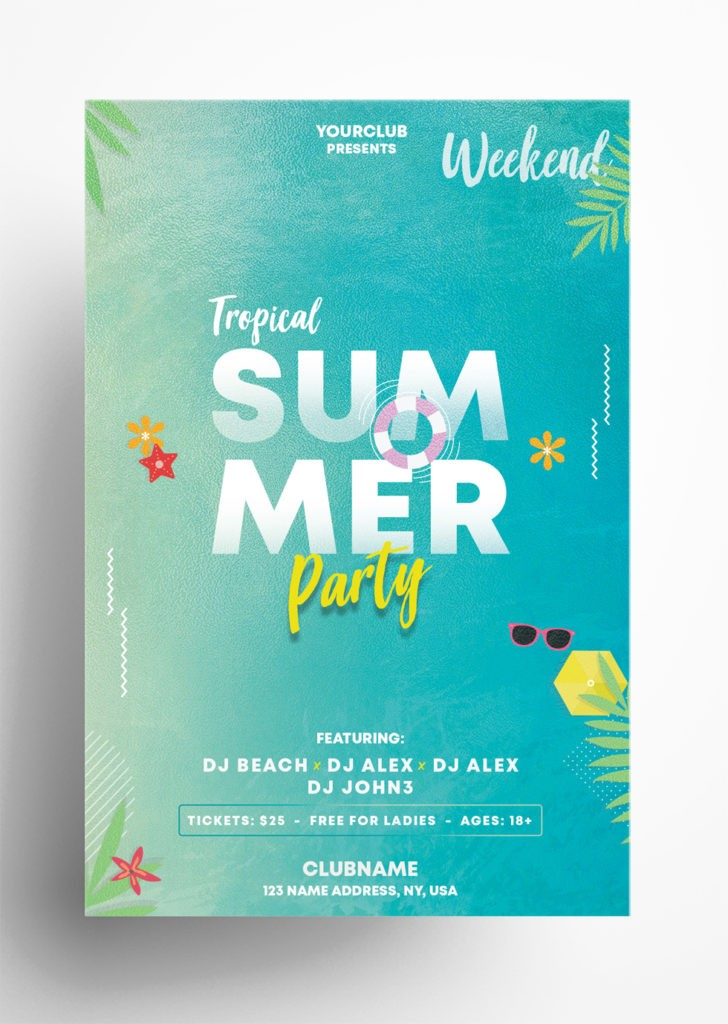 Tropical Weekend – Free Summer PSD Flyer Template