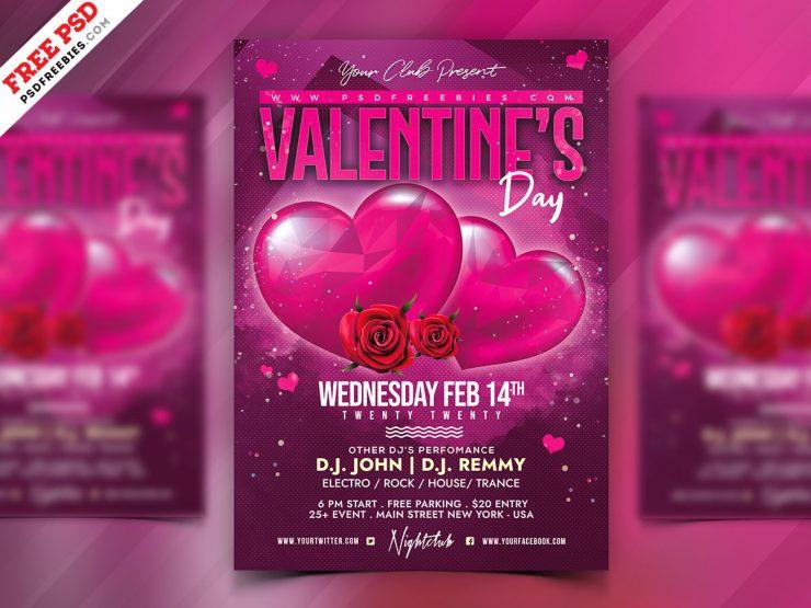 Valentine's Day Celebration Freebie PSD Flyer