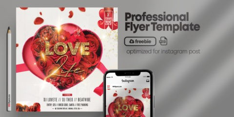 Valentine's Flyer Square Size / Insta Free PSD Template