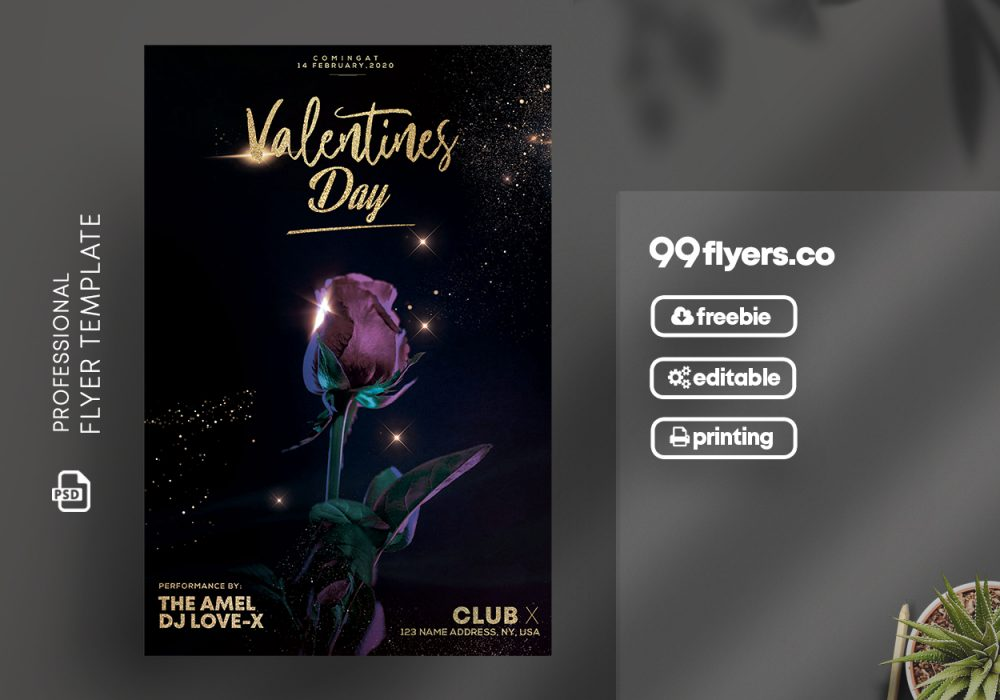 Valentines Day Elegant Free PSD Flyer Template