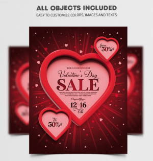 Valentine's Day Sale PSD Free Flyer Template