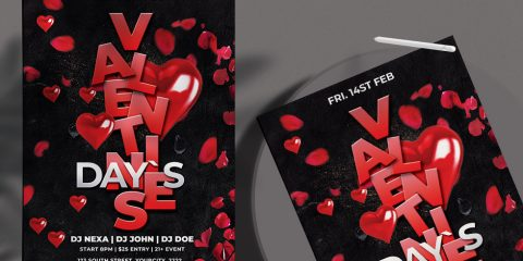 Valentine's Party Night PSD Free Flyer