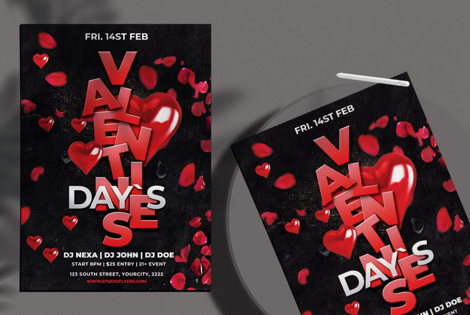 Valentine's Party Night PSD Free Flyer