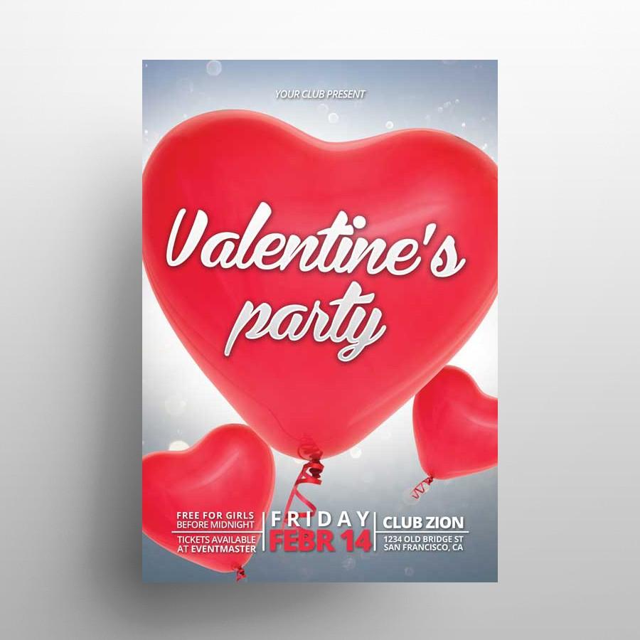 Valentine's Party - Freebie PSD Flyer Template