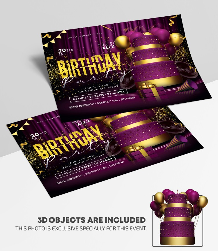Birthday Bash Free PSD Flyer Template
