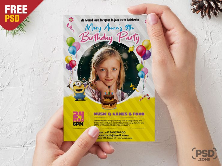 Birthday Kids Event Free PSD Flyer Template
