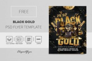 Free Black Gold Flyer Template in PSD