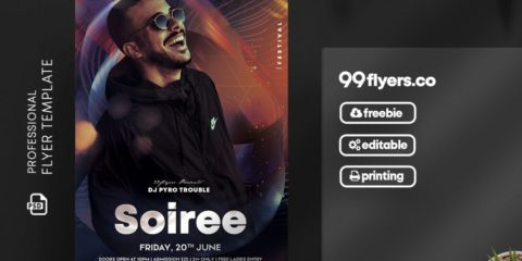 Free Club Night Party Flyer Template in PSD