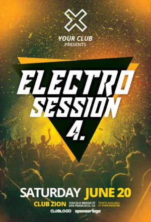 Free Electro Club Session Vol. 4 Flyer Template in PSD
