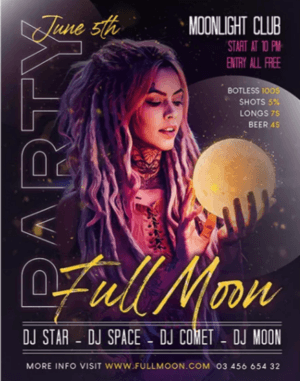Free Full Moon Party Flyer Template in PSD