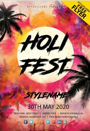 Free Holi Fest PSD Flyer Template