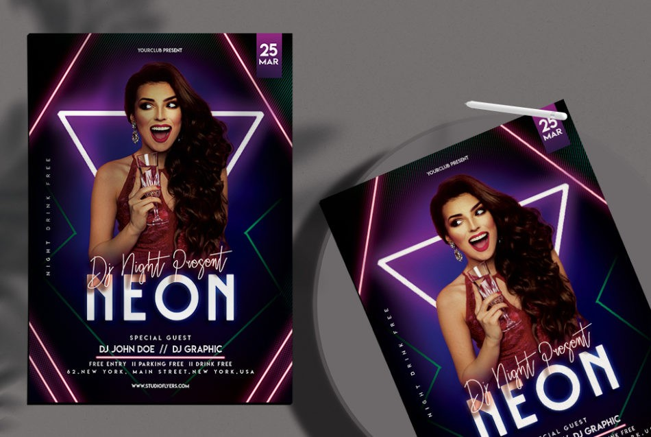 Free Neon Club Party Flyer Template in PSD