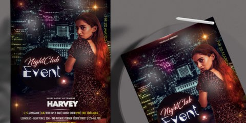 Free Night Party PSD Flyer Template