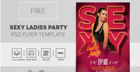 Free Sexy Ladies Party PSD Flyer Template