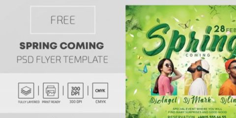 Free Spring Coming PSD Flyer Template