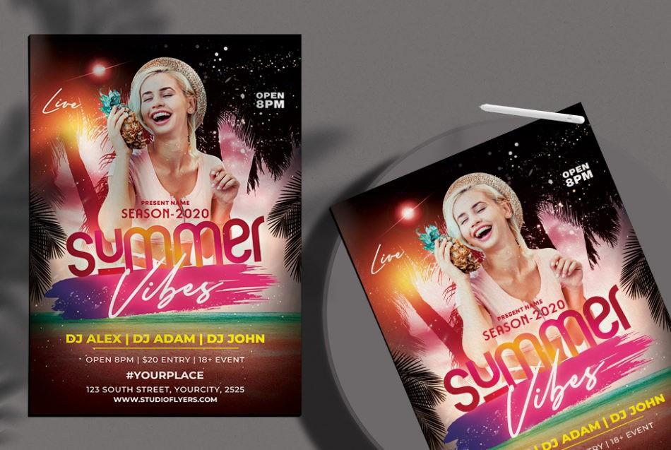 Free Summer Vibes PSD Flyer Template