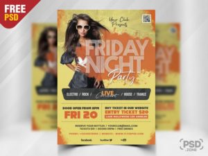 Friday Night Free PSD Flyer