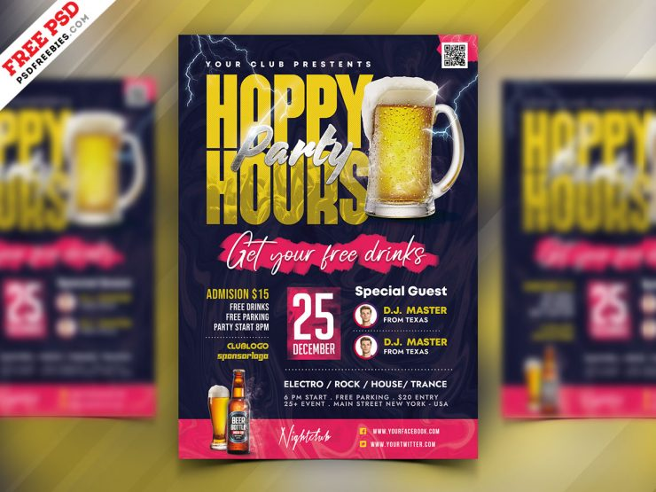 Happy Hour Free PSD Flyer Template