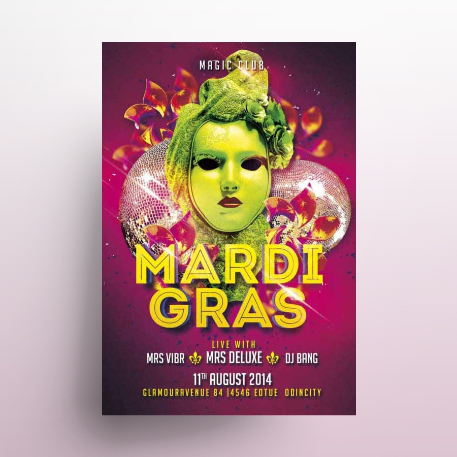 Mardi Gras 2020 Free PSD Flyer Template
