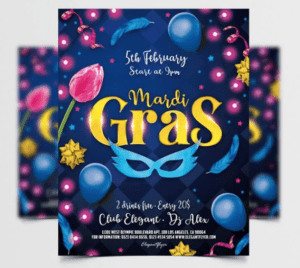 Mardi Gras Night Free PSD Flyer Template