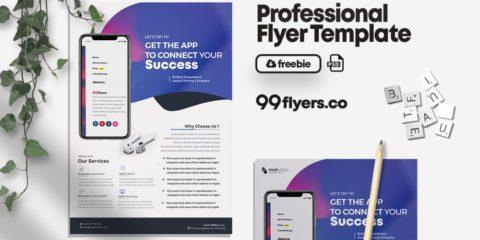 Mobile App Design Free PSD Flyer Template