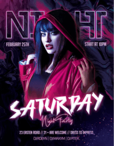 Saturday DJ Party Free PSD Flyer