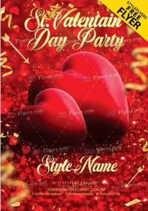 The Valentines Party PSD Flyer Template for Free