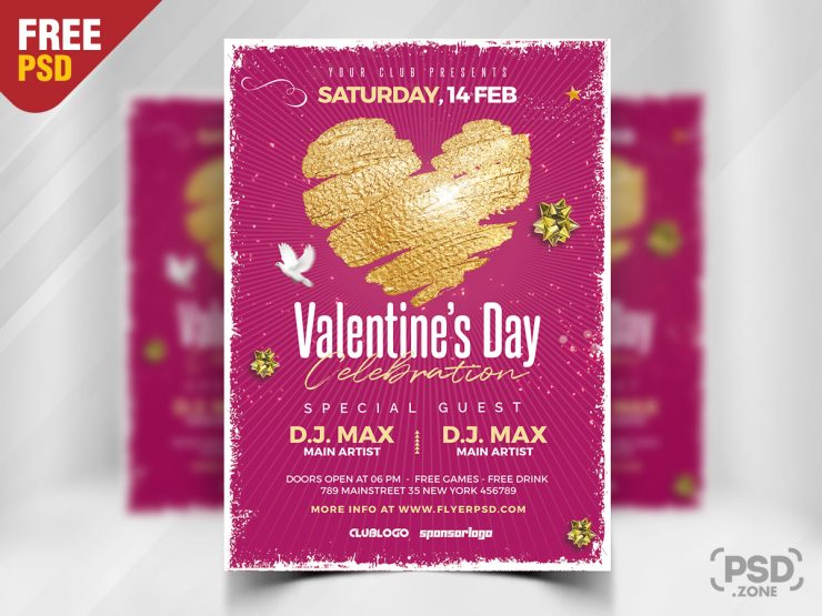 Valentine's Day PSD Flyer for Free