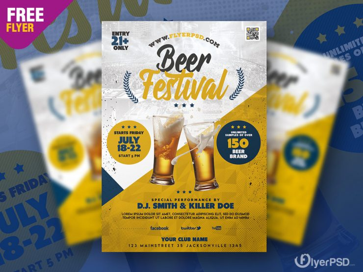 Beer Festival PSD Flyer Template for Free