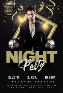 DJ Night Party Flyer – Free PSD Template