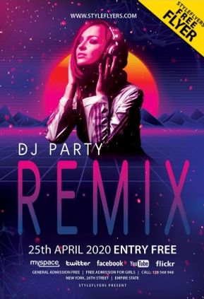 Dj Party Free Flyer Template in PSD