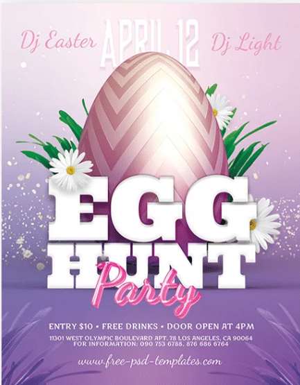 Egg Hunt PSD Flyer Template for Free