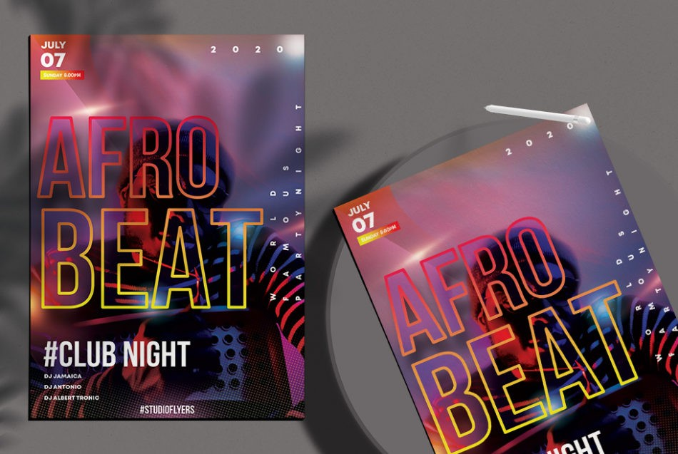 Free Afro Beat Club Night Flyer Template in PSD
