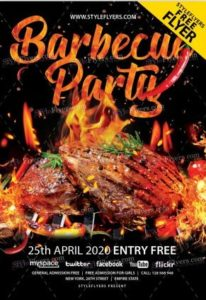 Free Barbecue Party Flyer Template in PSD