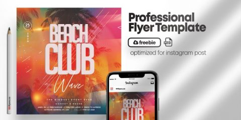 Free Beach Club Party Flyer Template in PSD