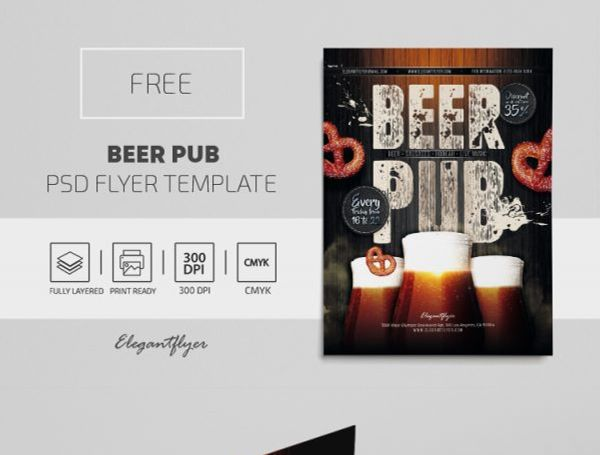 Free Beer Pub Flyer Template in PSD
