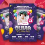 Free Birthday Party Invitation Flyer in PSD